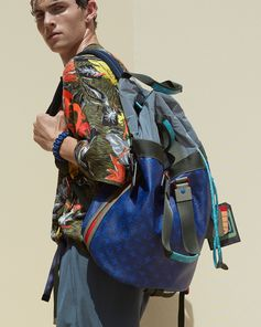 Details of a look and Monogram Pacific Outdoor backpack from the Louis Vuitton Men's Spring Summer 2018 Fashion Show by Kim Jones, presented in the Palais Royal in Paris, France.