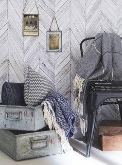 Papier peint intissé Tuck gris clair #leroymerlin #tendance #vintage #industriel #papierpeint #wallpaper #ideedeco #madecoamoi