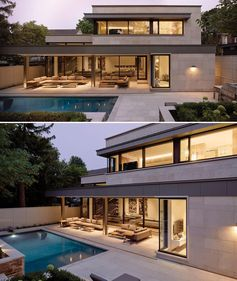 A modern house clad in limestone, opens up to an covered outdoor space and a swimming pool.