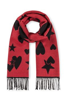 Inspired by the Escada archives, this scarf is patterned with hearts and stars all-over. The two-tone jacquard style is made from pure wool that's cozy and soft to the touch.