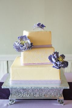 Purple and cream wedding cake | Elegant Spring Wedding | Donna Cheung Photography