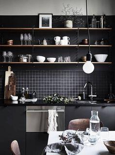 cuisine noir mat / bois et inox