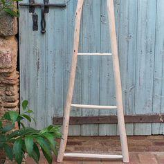 Echelle porte-serviette bois de peuplier brut et eucalyptus 150 cm