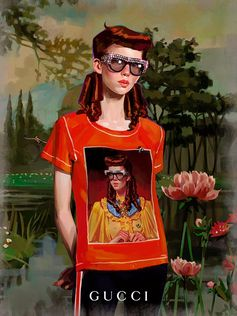 Art illustrated into art by Ignasi Monreal. The young artist's prints, including a redheaded character resembling Eve, appear on T-shirts from Gucci Cruise 2018 and on the Gucci Art Wall in Soho NYC and Milan.