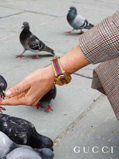 For Time To Parr, Gucci commissioned British photographer Martin Parr to capture the House's timepieces around the world. The artist's photography captures moments that might otherwise be overlooked, like a woman bending down to feed pigeons in a piazza in Florence wearing the G-Timeless watch with the Web stripe strap.