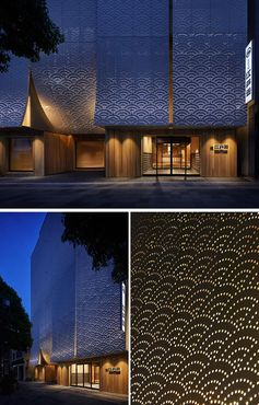 A Perforated Facade Adds An Artistic Pattern To This Building In Japan