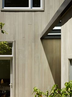 Light wood siding has been used on this home in San Francisco, California.