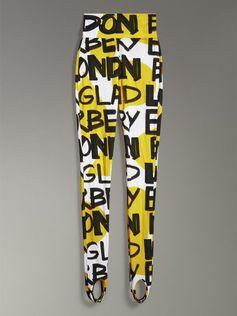 Stirrup #Burberry print leggings in second-skin stretch jersey splashed with marker-pen graffiti print