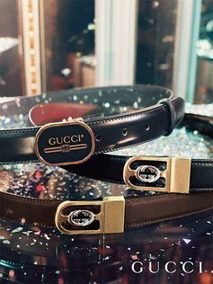 From Cruise 2019, new men's leather belts feature retro motifs and the Gucci vintage logo.