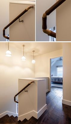 These stairs feature a leather-wrapped handrail that provides added grip and a contrast to the light wood. #HandrailIdeas #LeatherHandrail #StairIdeas