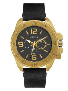 Black And Gold-Tone Leather Watch