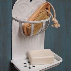 Porte-savon à suspendre en métal émaillé blanc 2 niveaux : Decoclico