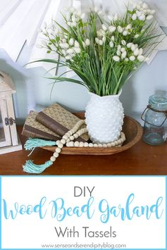 Wood bead garlands are a hot trend in home decor right now. I will show you how to make your own for just a few dollars and 10 minutes!