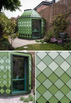 A backyard home office and guest suite that has a geometric shape and is covered in green shingles.