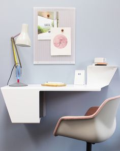 Home Office Ideas - Danish designer Anne Linde has created a sleek and modern wall desk that's folded from a single sheet of steel. #WallDesk #WallMountedDesk #HomeOffice #SmallSpaceIdeas