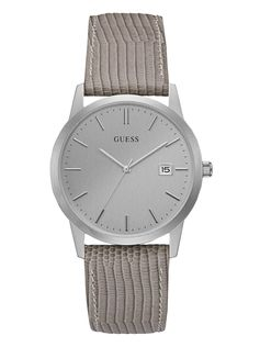 Grey Textured Leather and Silver-Tone Watch