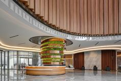 A column of plants adds a green touch to an building interior.