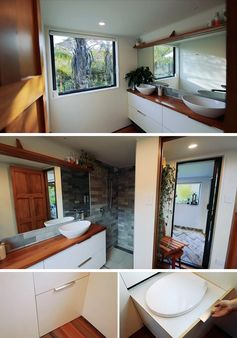 A tiny house bathroom with double vanity, a full shower, and a pull-out composing toilet.