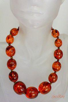 Vintage Faux Amber Necklace Lucite Butterscotch Choker Necklaces Collar #Choker