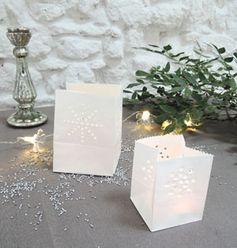 Photophore sac lumineux en papier ignifugé blanc