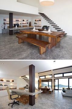 This Home Office With A Concrete Desk Integrated A Column Into Its Design