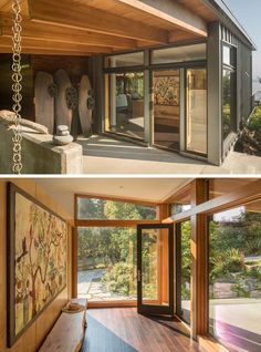 The front covered entryway at the side of this modern Pacific-Northwest house has a rainchain, sculptural accent, and a small foyer with artwork and wood floors. #Entryway #Foyer #Architecture