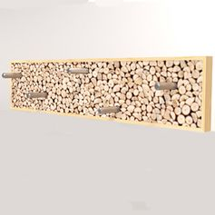 Patère design en bouleau  et rondins de bois Helsinki