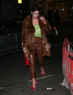 Dua Lipa in a Fur Free Fur brown coat from Stella McCartney