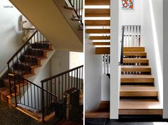Before & After -  The installment of skylights above the staircase brightens up the entryway and reflects the light off the warmth of the wooden floor. #Stairs #ModernStairs