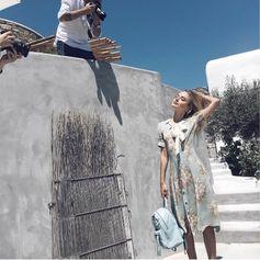 Sonya Esman carrying the Folli Follie Twist Together backpack (July 2016).