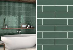 A modern rectangular ceramic bathroom wall in a dark green.