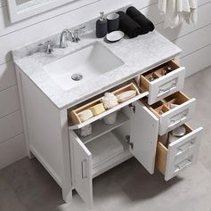 """An Epiphany About A Bathroom Remodel While Sitting In My Tub   terrific 36"""" vanity for small bathrooms. Tons of storage from Ove Decor. More info on the blog."""