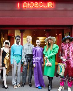 Inspired by theatre and nightlife, a lineup of looks from the Gucci Spring Summer 2019 collection by Alessandro Michele captured in front of the Théâtre Le Palace in Paris.