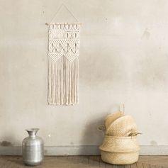Tissage mural en coton effet crochet ecru  35x90 cm