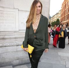 Amber LeBon sporting the yellow clutch from the Santorini Flower collection