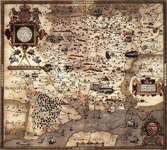 MAP ANTIQUE 1575 SAXTON HAMPSHIRE SOUTHAMPTON WIGHT REPLICA POSTER PRINT PAM0004 | eBay