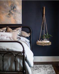 Winter inspired color: Bedroom painted Benjamin Moore Hale Navy