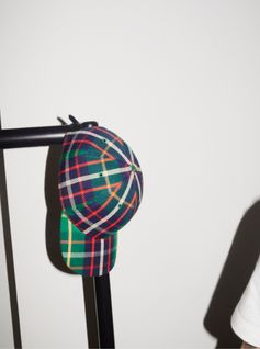 A unisex cotton baseball cap in bright check woven at the Burberry mill