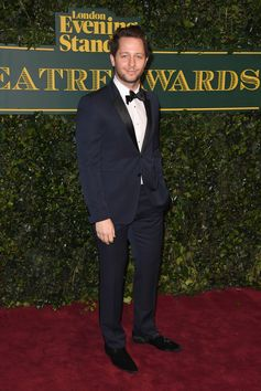 Derek Blasberg on the red carpet at the navy Burberry tuxedo at the 2017 Evening Standard Theatre Awards