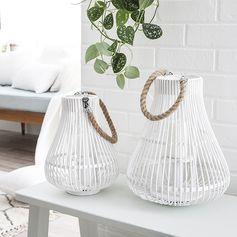 Lanternes blanches avec anse et corde
