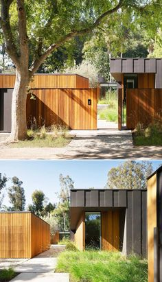 A modern house that showcases Western Red Cedar together with oversized charcoal-colored board and batten and cement board siding.