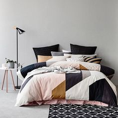 Geometric bedding pink black metallic Instagram photo by @adairs via ink361.com