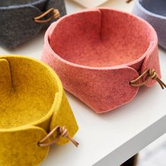 Storage Ideas – Modern Storage Baskets Made From Felt And Leather