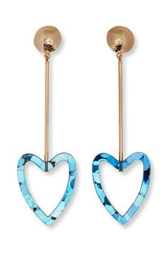 The iconic Escada heart shape gets reimagined in this striking pair of drop earrings. Made of glittery colored perspex with gold-toned metal, the clip-on pair will add a signature finish to new-season looks.