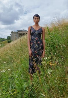 A first glimpse of ERDEM x H&M, worn by Imaan Hammam. The collection launches November 2nd. | ERDEMxHM