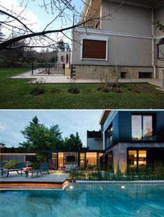 A modern house and yard renovation that includes a sunbathing deck and swimming pool.