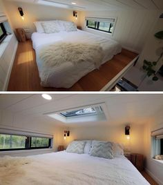 This modern tiny house has a loft bedroom, with windows on each side, and a skylight in the ceiling above. #TinyHouse #TinyHouseBedroom #TinyHouseSkylight #LoftedBedroom