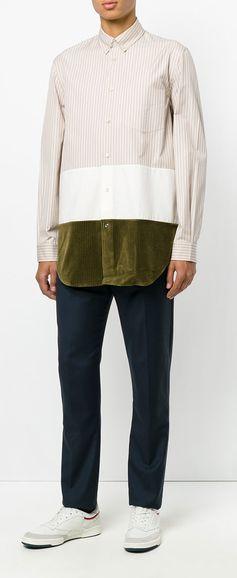 MAISON MARGIELA striped colourblock shirt, explore new season Maison Margiela on Farfetch now.