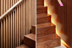Stairs With Hidden Lighting On Either Side Create A Dramatic Effect When Reflected Off The Wood Slat Walls