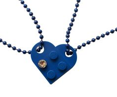 Dark Blue 2 piece customizable heart made from 2 LEGO® plates with a Diamond color SWAROVSKI® crystal on 2 Blue ballchains Length of the ballchains easily reducible You and your significant other, BFF/best friend, lover or family member share each a half of the LEGO® heart. When youre together, you